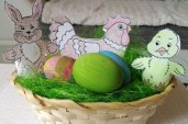 Adámek: Basket with green grass.Hen with small chicken,brown bunny and  three decorated eggs. Happy Easter : -)